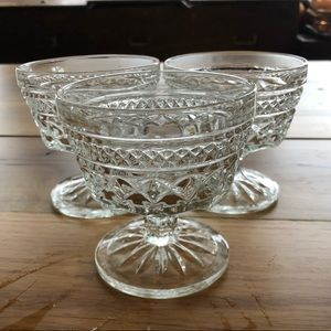 Set of 3 etched cut glass small dessert glasses